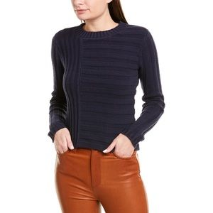 NWT Vince Mixed Rib Cotton Crewneck Sweater Navy